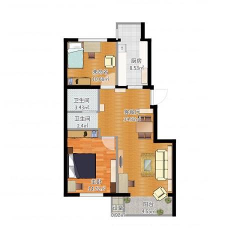 中南湾1室1厅1卫1厨102.00㎡户型图
