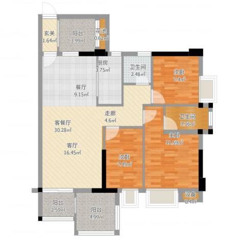瑞泰幸福里3室1厅2卫1厨116.00㎡户型图