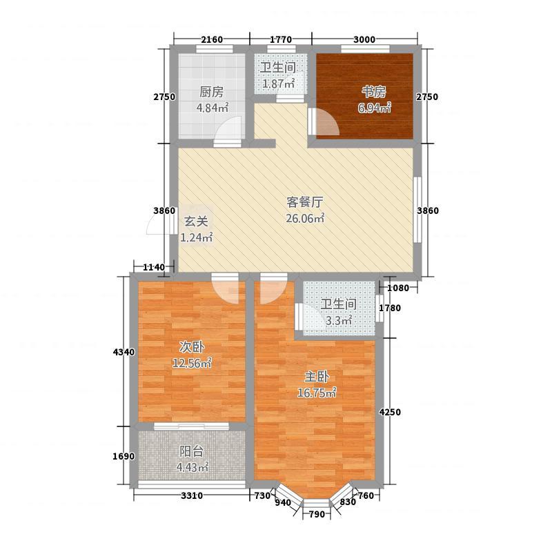 富澳安纳溪小镇111.00㎡D1户型3室2厅2卫1厨