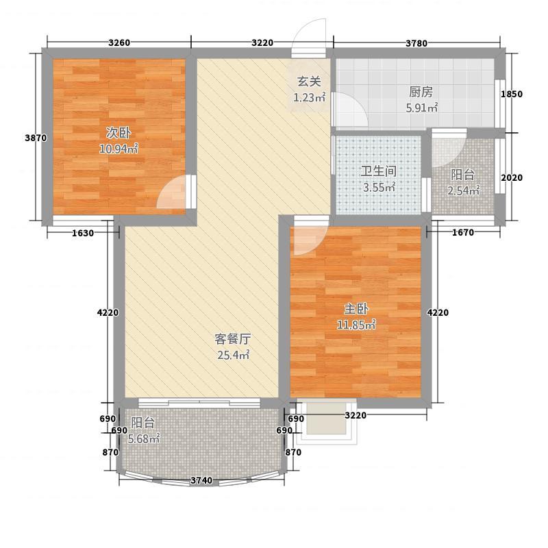 金域豪庭4.48㎡1户型2室2厅