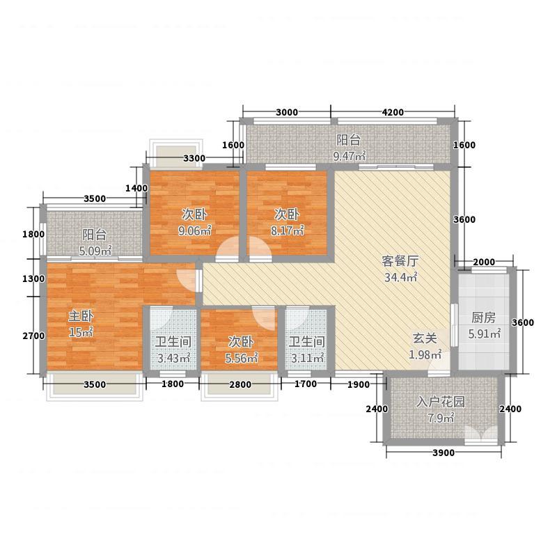 东城明珠13.00㎡户型4室2厅2卫1厨