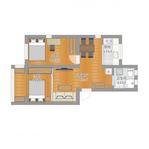 运光新村2室1厅1卫1厨64.00㎡户型图
