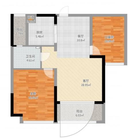 南山国际社区2室1厅2卫1厨107.00㎡户型图