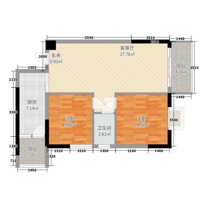 东信首府88.80㎡C1/C2栋C单元户型2室2厅1厨