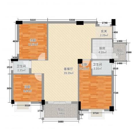 锦盈嘉园3室1厅2卫1厨129.00㎡户型图