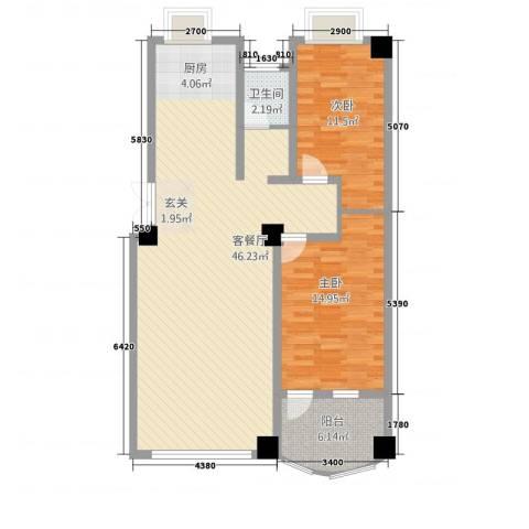 华洋・陶园2室1厅1卫0厨115.00㎡户型图