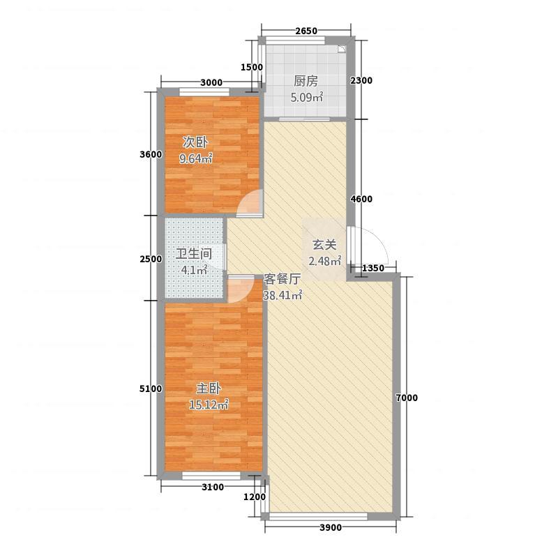 绿城国际86.00㎡3户型2室2厅1卫1厨