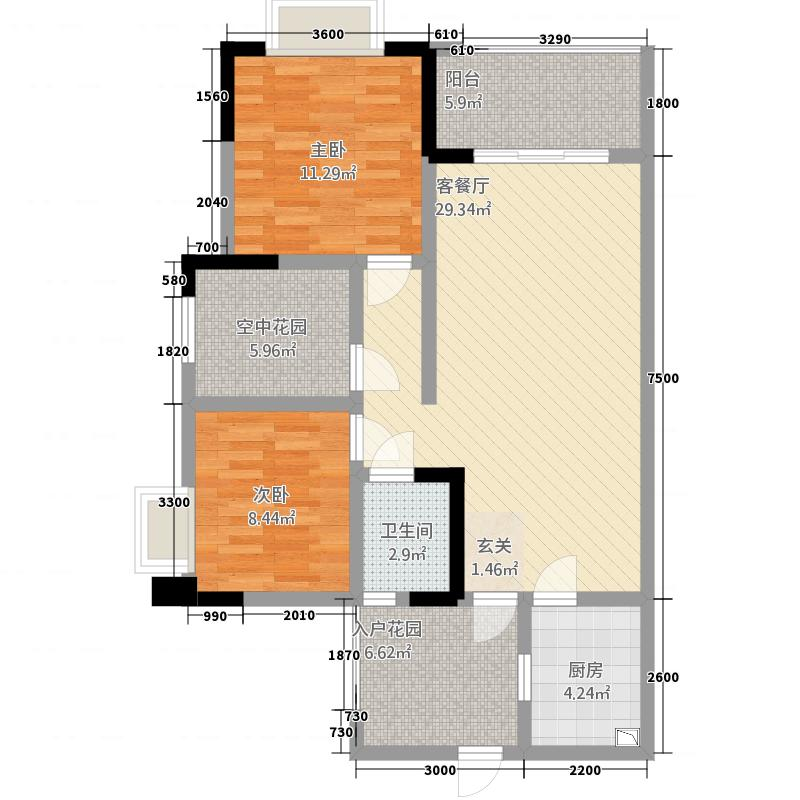 惠邦国际城a-1户型2室2厅1卫1厨