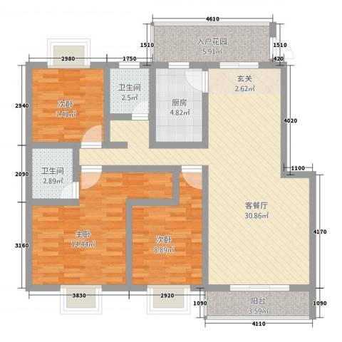 华浮宫花园洋房3室1厅2卫1厨81.30㎡户型图