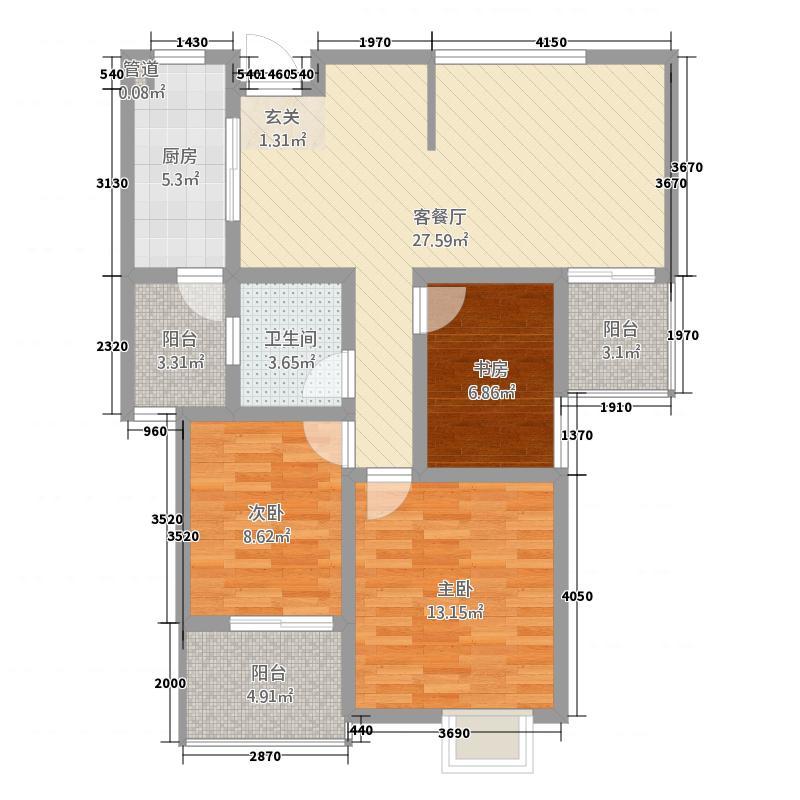 金鼎华府111.82㎡B户型3室2厅1卫1厨
