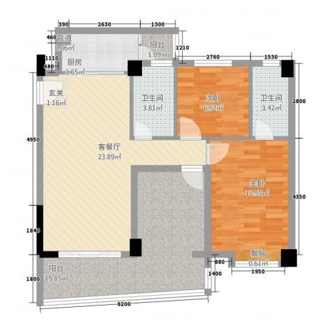 云峰花园四期2室1厅2卫1厨103.00㎡户型图