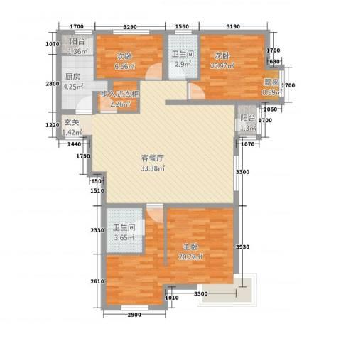 山西宏安国际大厦3室1厅2卫1厨124.00㎡户型图