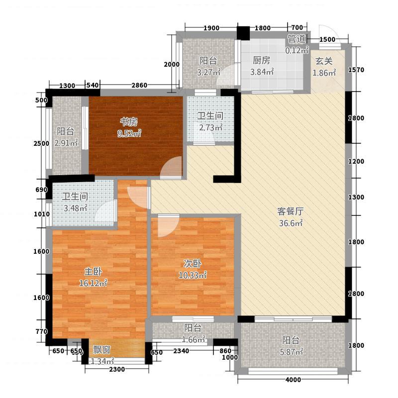 钦城一品585116.81㎡5/8-05户型3室2厅2卫1厨