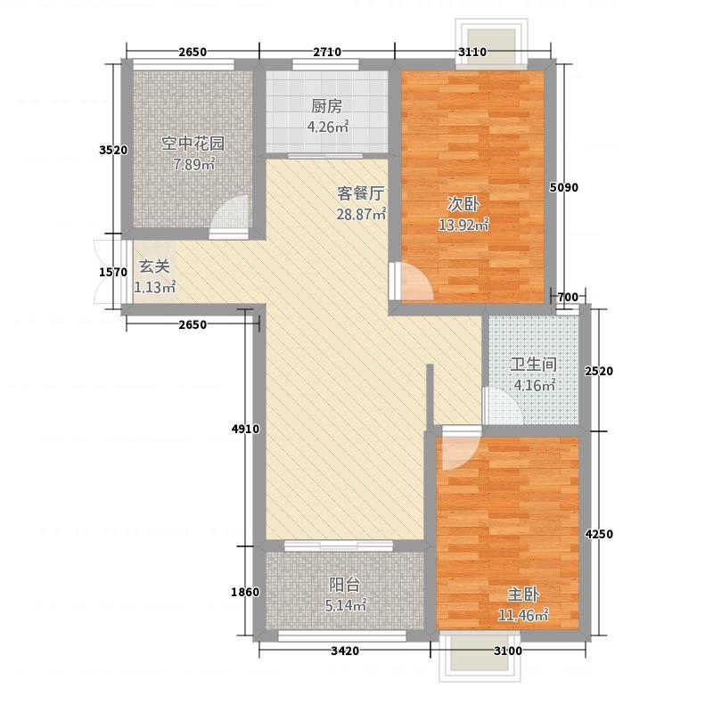 京皖・财富中心1.28㎡E户型2室2厅1卫1厨