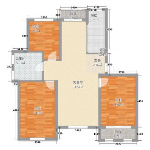 喜盛威尼斯五期3室1厅1卫1厨118.00㎡户型图