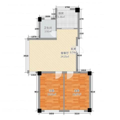 春天花园2室1厅1卫1厨82.00㎡户型图