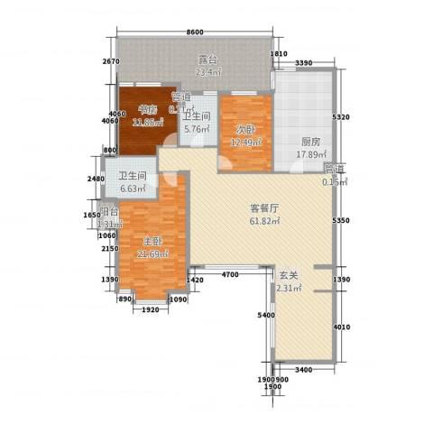六宅臻品3室1厅2卫1厨166.00㎡户型图