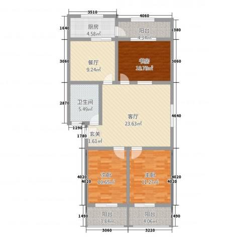 西关大厦3室2厅1卫1厨128.00㎡户型图