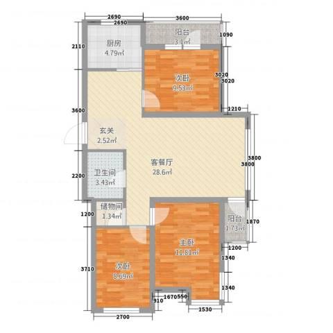 中�天地3室1厅1卫1厨73.02㎡户型图