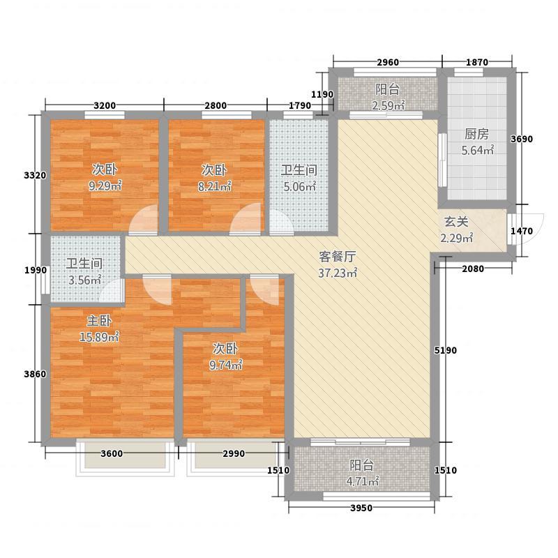 恒地・首府142143.41㎡e户型4室2厅2卫