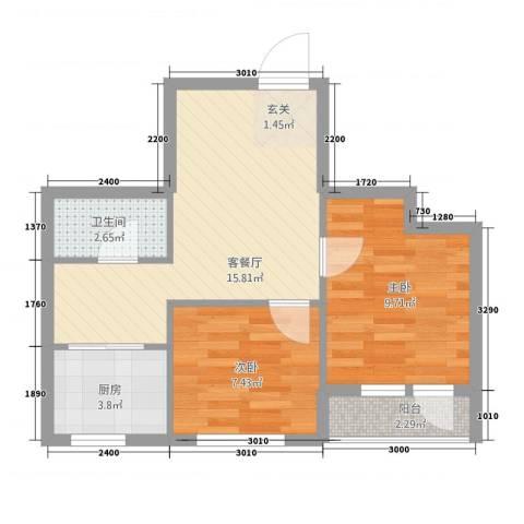 中�天地2室1厅1卫1厨59.00㎡户型图