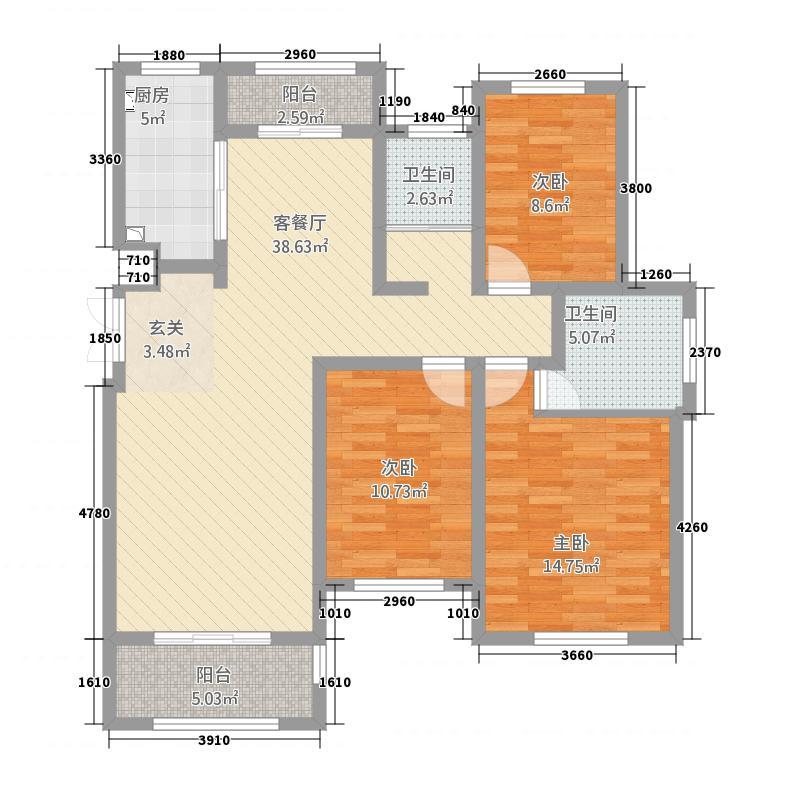 西平建业森林半岛136.20㎡户型3室2厅2卫1厨