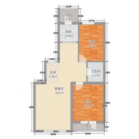 中�天地2室1厅1卫1厨87.00㎡户型图