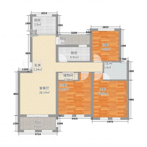 喜盛威尼斯五期3室1厅1卫2厨119.00㎡户型图