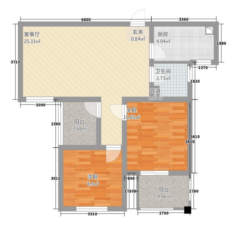 天翼星公馆88.52㎡B偶数平面图-户型2室2厅1卫1厨