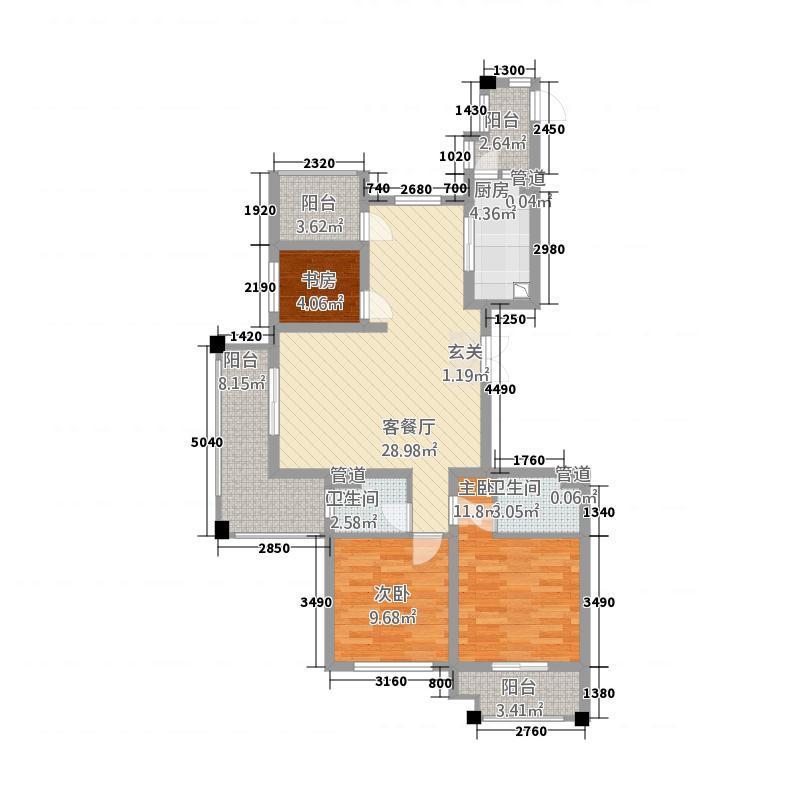 天翼星公馆122.42㎡E偶数平面图-户型3室2厅2卫2厨