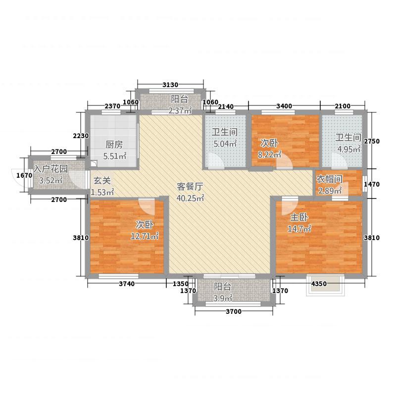 天龙・国际广场148.20㎡C-户型3室2厅2卫1厨