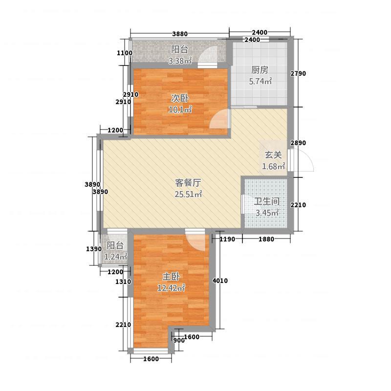 中�天地81.77㎡C户型2室2厅1卫1厨
