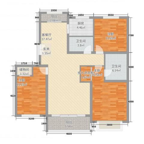 金宇新天地3室1厅2卫1厨148.00㎡户型图