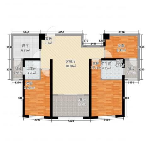 金K海景3室1厅2卫1厨1314.00㎡户型图