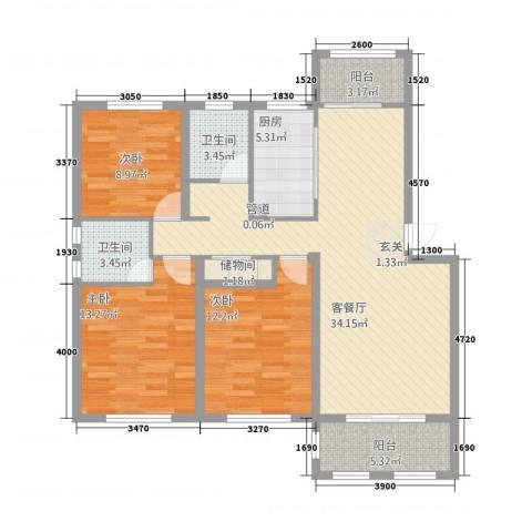 喜盛威尼斯五期3室1厅2卫1厨90.54㎡户型图