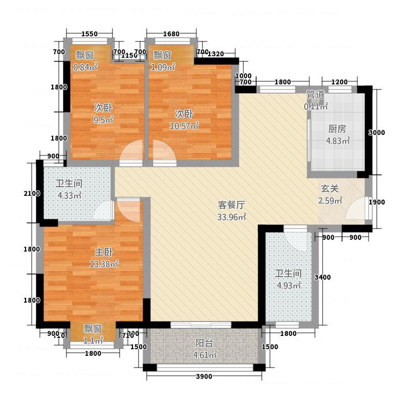 华太・紫荆豪庭115.00㎡1024-(1)户型3室2厅2卫1厨
