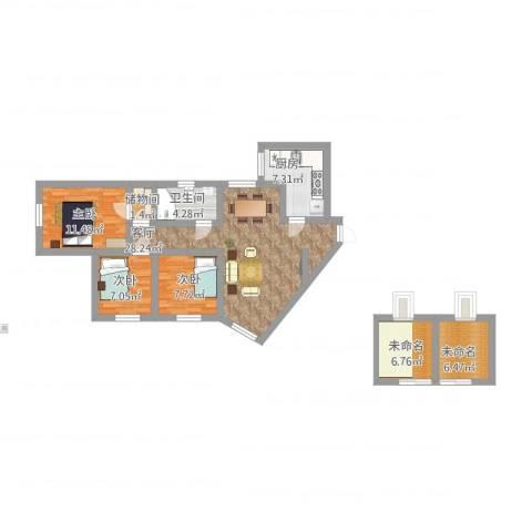 珠光花园3室1厅1卫1厨123.00㎡户型图