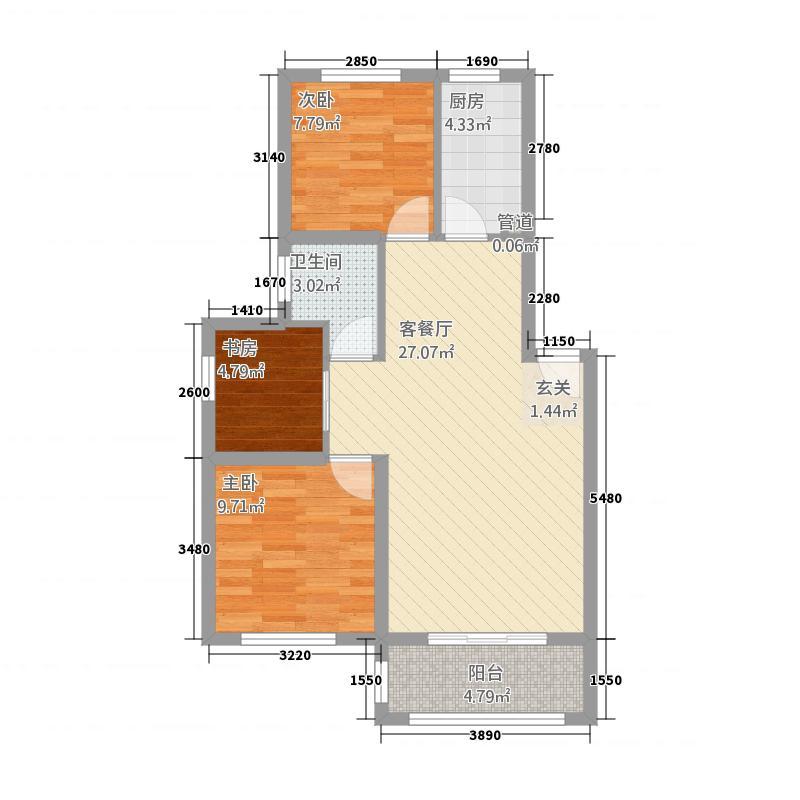 喜盛威尼斯五期88.00㎡L户型3室2厅1卫1厨