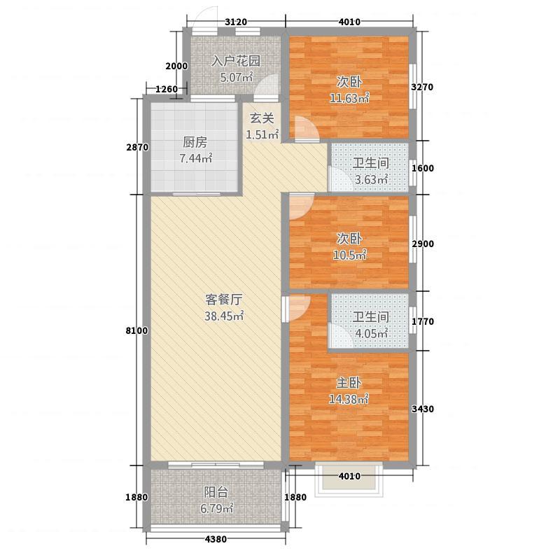 滨江尚品121.70㎡6B01户型3室2厅2卫