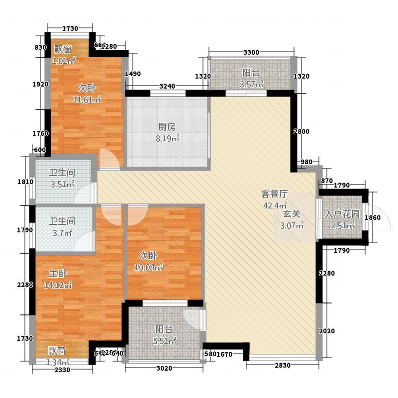 五福庄园136.71㎡322-13671_副本户型3室2厅2卫1厨