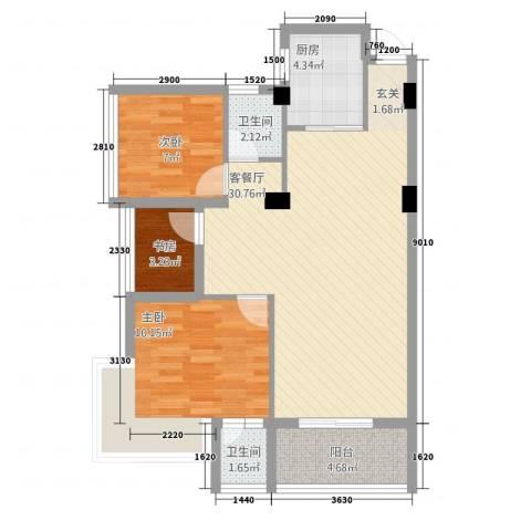 武夷新时代广场3室1厅2卫1厨63.93㎡户型图