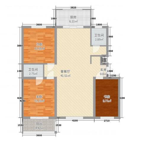 学府康城3室1厅2卫1厨122.00㎡户型图