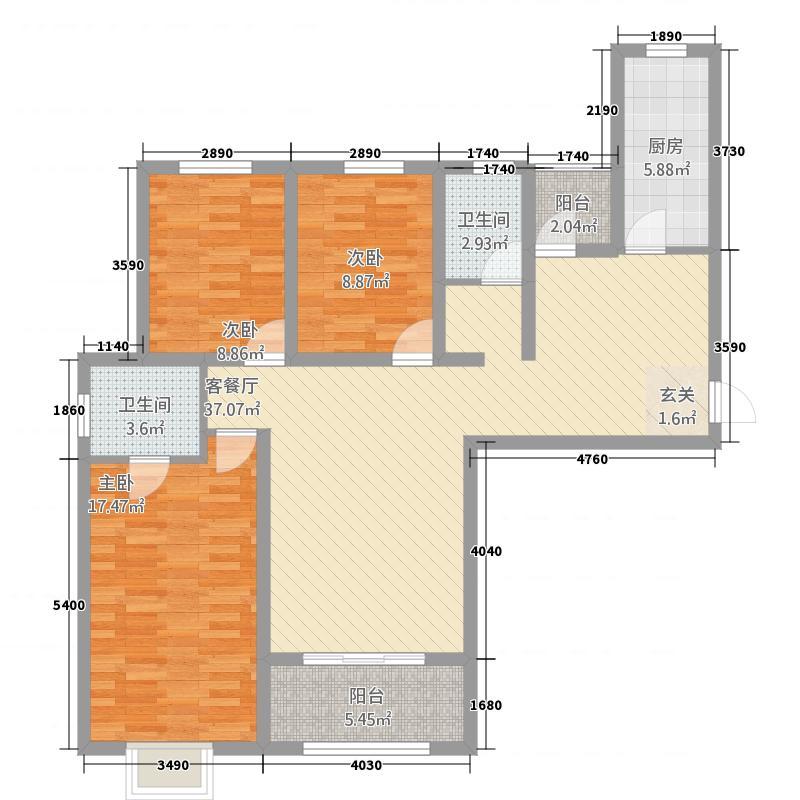利和银座131.70㎡2户型3室2厅2卫1厨