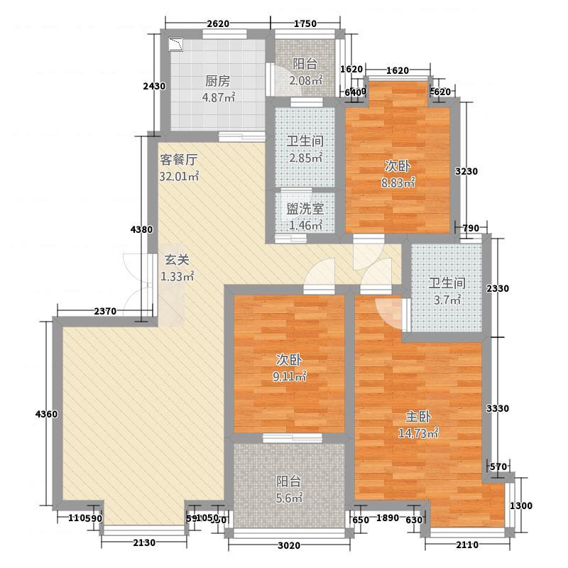 天汉园125.50㎡7户型3室2厅2卫1厨