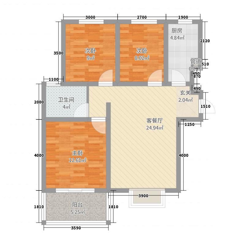 东华世家16.20㎡户型3室2厅1卫1厨
