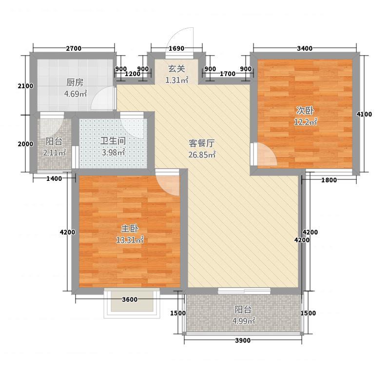 颐和名居5.40㎡户型2室2厅1卫1厨