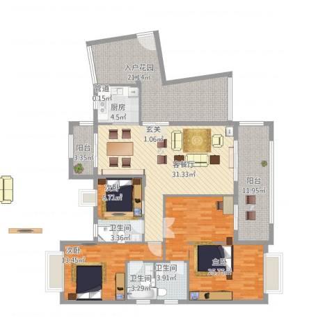 盛世江南豪庭3室1厅3卫1厨181.00㎡户型图