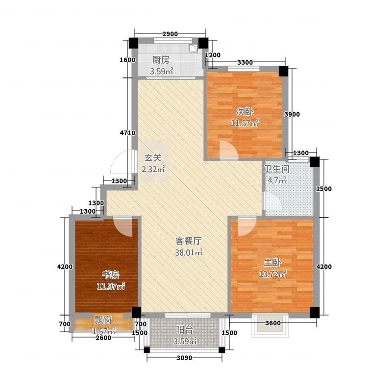桃花岛都市花园322-1099_副本户型3室2厅2卫1厨