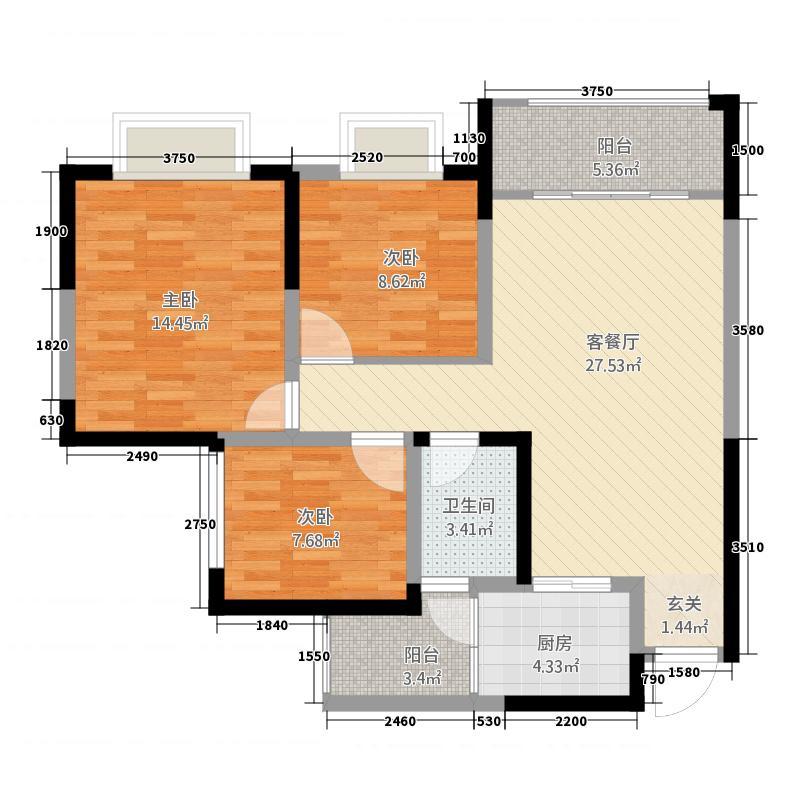 万景中岩广场A2户型3室2厅1卫1厨