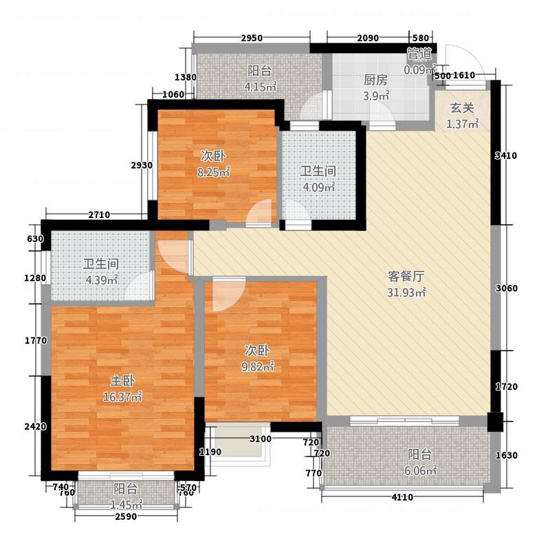 万景中岩广场A户型3室2厅2卫1厨